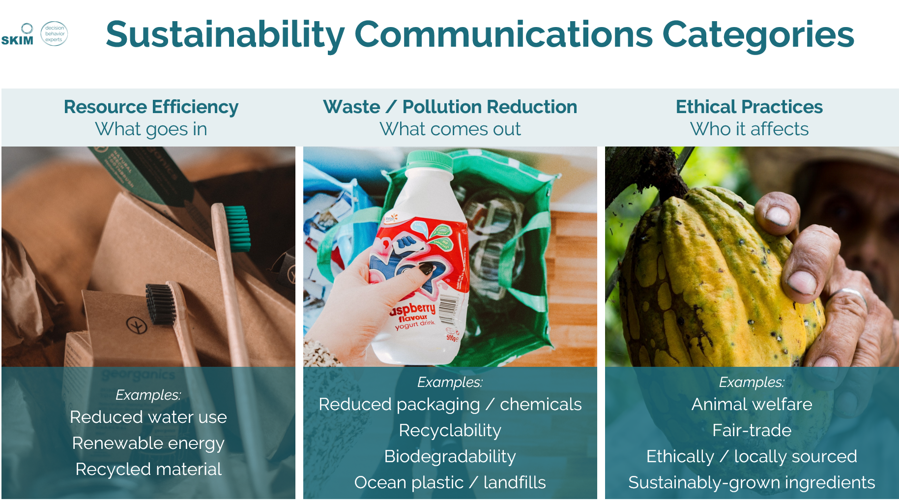 SKIM Sustainability Communications Categories - message testing